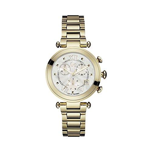 Guess Collection-Secondo le donne s Chic-Bracciale placcato oro & Case-Orologio analogico al quarzo Y05008M1-Orologio da donna