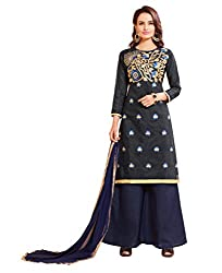 DnVeens Women's Chanderi Embroidered Unstitched Party Wear Dress Material
