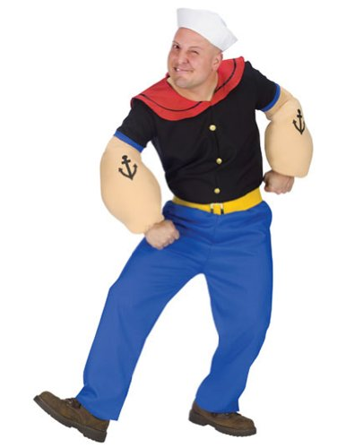 Adult-Costume Popeye Costume Halloween Costume - Most Adults