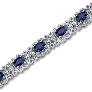 Antique Styling Oval Cut Created Sapphire Gemstone Bracelet in Sterling Silver Rhodium Nickel Finish by Peora