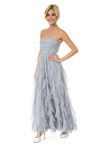 Teeze Me Silver Ruffled Petal Tule Jeweled Empire Strapless Prom Dress-Size 3