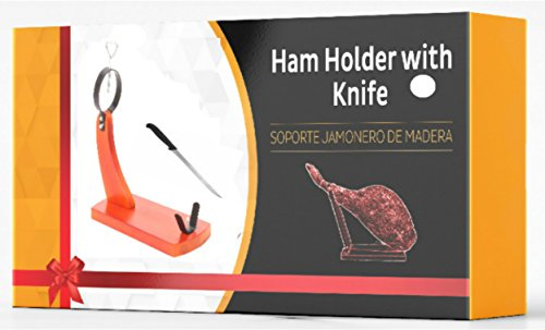 H03 Quality Professional Serrano Iberian Ham Stand Gondola Rack Holder + Free Knife - Gift Idea Boxed