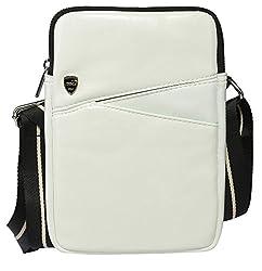 CROCO Travel bag/ Document Holder Bag/messenger bag / 7 inch tablet bag/ Ipad bag/ shoulder bag for iPad Mini3 Mini2 Mini and 7 to 8 Inch Android Tablet PC (White)