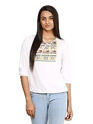 Mayra Women's Rayon Top (1604T09390_M White )