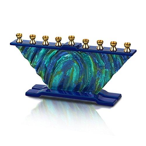 The Kosher Cook - Chanukah Candle Menorah - Handmade Glass 'Van Gogh' Style