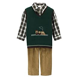 Toddler Boys' Perfectly Dressed Train Sweater Vest Set