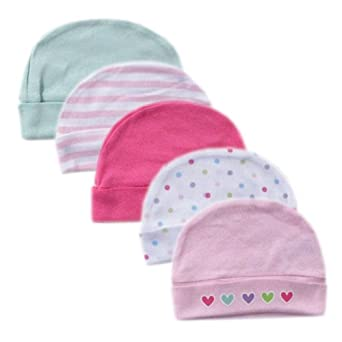 Luvable Friends Cap, 5 Pack, Pink, 0-6 Months