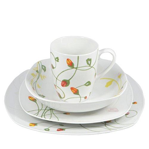 Francois et Mimi 16-Piece Classic Square Pure White High-Fire Porcelain Dinnerware Set, Floral