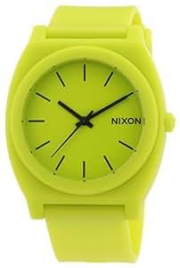 Nixon Unisex-Armbanduhr The Time Teller P Neon Yellow Analog Quarz Kautschuk A1191262-00