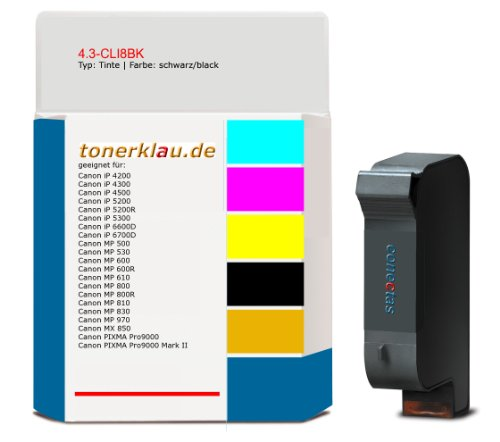Tinte 4.3-CLI8BK kompatibel zu Canon CLI-8BK geeignet für: Canon iP 4200 / Canon iP 4300 / Canon iP 4500 / Canon iP 5200 / Canon iP 5200R / Canon iP 5300 / Canon iP 6600D / Canon iP 6700D / Canon MP 500 / Canon MP 530 / Canon MP 600 / Can ... und weitere