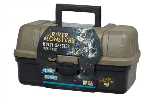 River Monsters 3 Tray Tackle Box with 135 Piece Basic Tackle