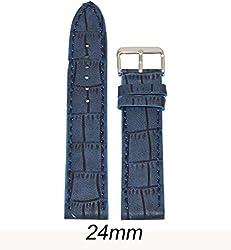 Like 24 mm Croco Leather Watch Strap (Blue)