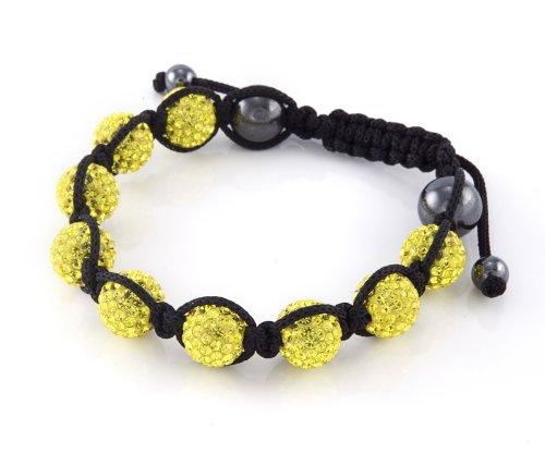 Eeazy-Gizmo® Yellow Shamballa Bracelet Unisex Crystal Swarovski Beads