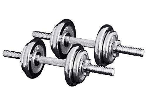 FIELDOOR クロムダンベル 10kg×2個セット 【筋力トレーニング/ダイエット/シェイプアップ】