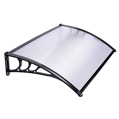 ReaseJoy Window Door Awning Sun Shade Canopy Clear PC Hollow Polycarbonate  Sheet 120x80cm White U0026 Black