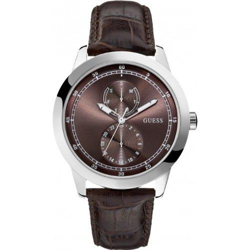 Guess W75065G2 - Reloj analógico de cuarzo para hombre con correa de piel, color marrón