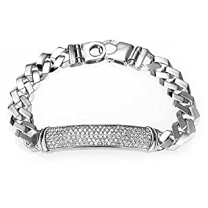 """Men's Sterling Silver Cubic Zirconia ID Curb Link Bracelet Rhodium Plated 8.5"""""""