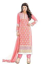 Kmozi Peach Color Designer Dress Material