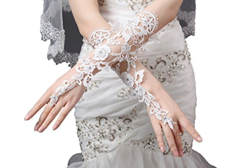 Blevla Fingerless Lace Floral Bridal Gloves Wedding Gloves Ivory