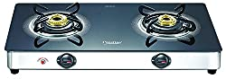Prestige Royale Plus Stainless Steel 2 Burner Gas Stove, Black (40082)