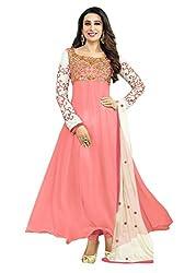 Vaidehi Fab Pink Georgette Embroidered Semi-stitched Anarkali Dress Materials