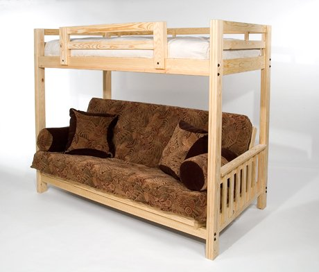 """The Ultimate Space Saver: Solid Wood, American-made and Sleeps 3! --- Full Futon Bunk Bed - Complete w/ Two 9"""" Futon Mattresses - Eco-friendly"""