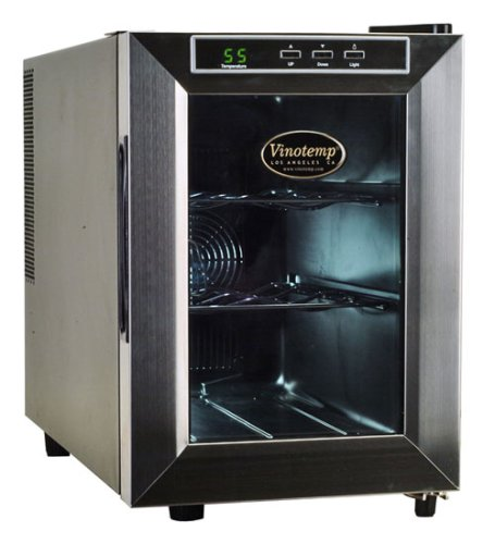Vinotemp VT-6TEDS Thermo-Electric Digital 6-Bottle Wine Chiller, Black and Stainless