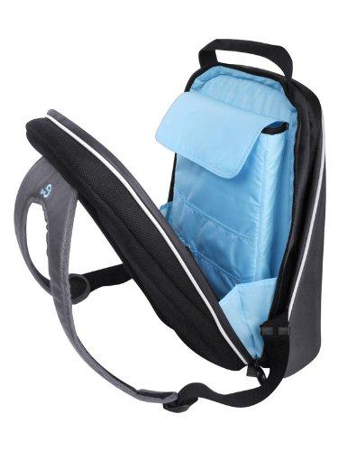 Be.ez 100417 LE Bag Pro Rucksack für MacBook Pro und 17-Zoll-Laptops, Silbergrau/Türkis