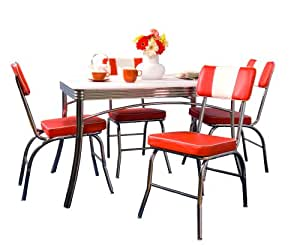 Tms 5 piece brimingham retro dining set red for Naaptol kitchen set 70 pieces