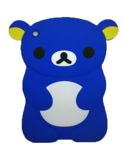 Byg Blue Lovely Rilakkuma/Bear Silicone Case Cover For Ipad Mini 7.9 Inch Back Case With Earphone Anti Dust + Gift 1Pcs Phone Radiation Protection Sticker