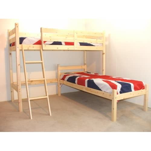 L SHAPED 3ft bunkbed - with TWO sprung mattresses - Wooden LShaped Bunk Bed for kids - FAST DELIVERY