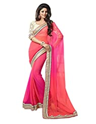 Temptingg Fashions Shaded Pink Chiffon With Heavy Jacquard Blouse And Lace Border Saree