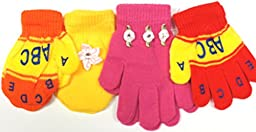 Four Pairs Magic Mittens and Gloves for Infants Toddlers Ages 6 Month to 3 Years