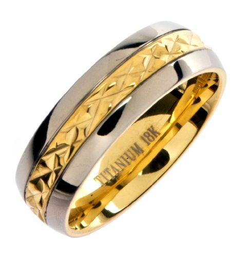 18K Gold Plated Grade 5 Titanium Wedding Ring Band Comfort Fit 7mm Size 7