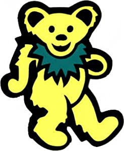 Dancing Bear - Yellow with Green Necklace - Sticker / Decal