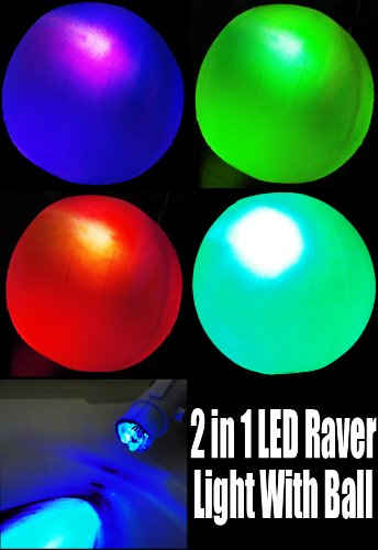 Incredible 2 In 1 Deluxe Led Raver Light With Blow Up Raver Ball Wc#Lit220Ea