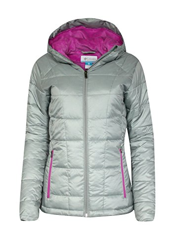 Columbia Women's Discovery Peak II OMNI HEAT HOODED PUFFER Jacket GREY PINK (XL) (Womens Columbia Peak Jacket compare prices)