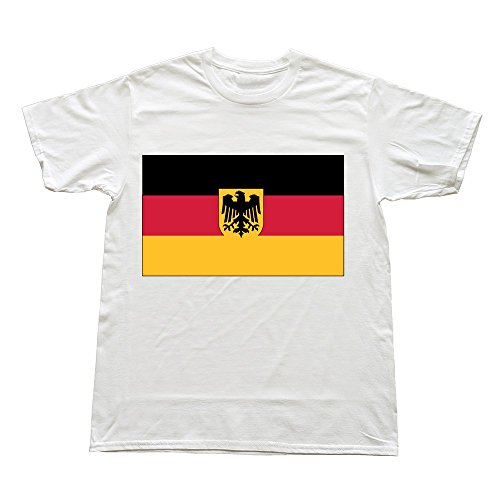 Hoxsin White Men'S Germany Funny O-Neck Shirts Us Size S