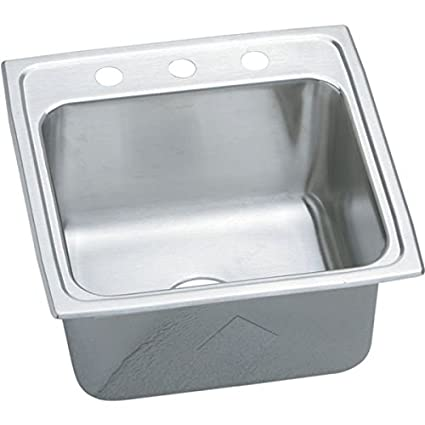 Elkay DLR1919103 3-Hole Gourmet Single Basin Drop-In Stainless Steel Kitchen Sink, 19-Inch x 19-1/2-Inch