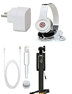 13Tech Premium Quality + Proper 1.5 Amp USB Charger + 1.5 meter Copper Embedded USB Cable (Data Transfer + Charging) + VM 46 3.5 mm Jack Headphones + Aux Enabeled Selfie (Monopod) Compatible With Apple Iphone 5
