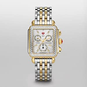 Michele Watches, Women's Signature Deco Two-Tone Diamond, Diamond Dial