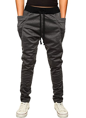 HEMOON Pantaloni da Uomo Jogging Tuta sportivo Tacksuit Slim Fit Grigio scuro Small