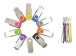FEBNISCTE 10 Pack Swivel Mix Color 8GB USB3.0 Memory Stick-10 Color Assorted
