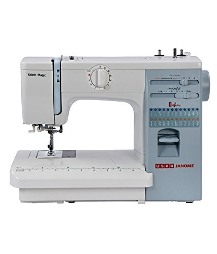 Usha Janome Automatic Stitch Magic 85 Watt Sewing Machine White and Blue  available at Amazon for Rs.15500