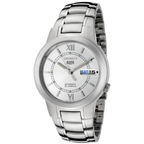 Seiko Men's SNKA19K Silver Stainless-Steel Automatic Watch with Silver Dial