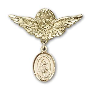 14K Gold Baby Badge with St. Rita of Cascia Charm and Angel with Wings Badge Pin