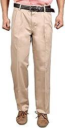 Romano Mens Beige Pleated Cotton Trouser