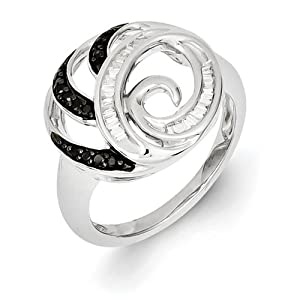 Genuine IceCarats Designer Jewelry Gift Size 6.00 Sterling Silver Black And White Diamond Ring In Sterling Silver.