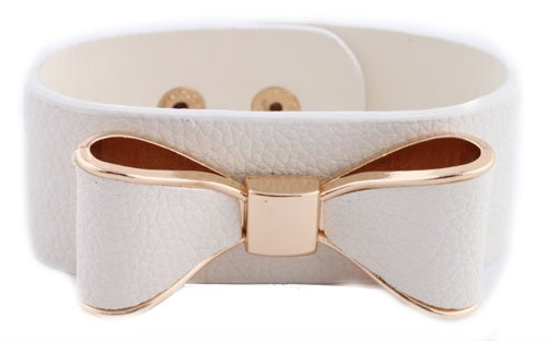 White with Gold Genuine Leather Bow Style Adjustable Snap Bracelet