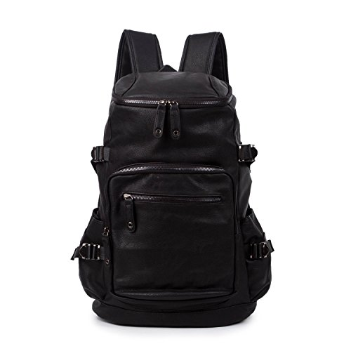 baigio-mens-unisex-backpack-vintage-pu-leather-school-bags-casual-daypackblack